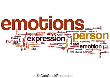Emotions word cloud concept with happy sad related tags