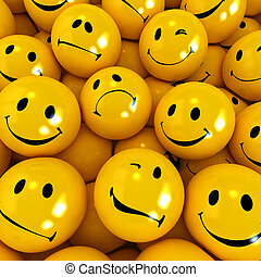 Emotions - Yellow icons with different facial expressions