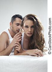 Emotive portrait of sensual couple