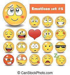 emotivo, faccia, vettore, icone