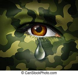 emotivo, stress, di, guerra