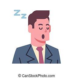 emozione, concetto, icona, napping, isolato, faccia, avatar, facciale, maschio, espressione, uomo