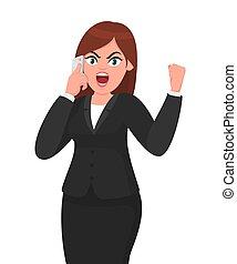 emozione, concetto, pugno, telefono, donna d'affari, arrabbiato, o, gesture., illustrazione, cartone animato, gridare, smartphone, vettore, innalzamento, umano, grida, style., parlante, tecnologia