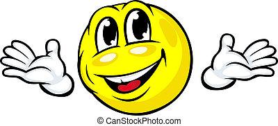 emozione, faccia, amichevole, icona