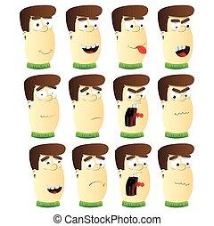 emozione, set., maschio, cartone animato, faccia