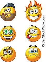 emozione, sorrisi, rotondo, 8