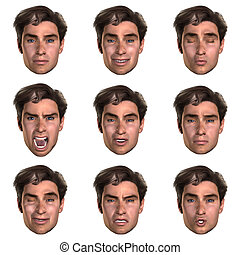 emozioni, faccia, 9, (nine), uno