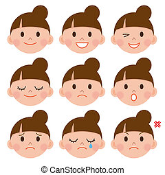 emozioni, set, cartone animato, faccia