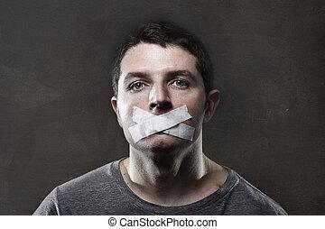 empêcher, conduit, jeune, bouche, séduisant, scellé, bande, lui, parler, homme