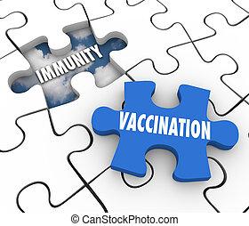 empêcher, vacciner, vaccination, puzzle, maladie, trou, morceau, immunity, remplir