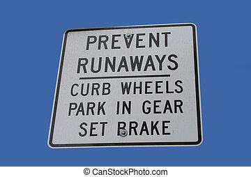 empêcher, voitures, fugitif, signe
