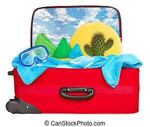 empacado, viaje, vacaciones, rojo, maleta