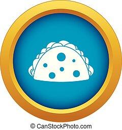 Empanada, cheburek or calzone icon blue vector isolated on ...