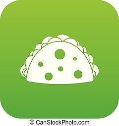 Empanada, cheburek or calzone icon digital green for any ...