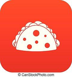 Empanada, cheburek or calzone icon digital red for any ...