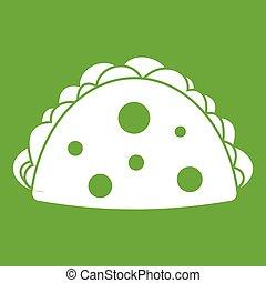 Empanada, cheburek or calzone icon green - Empanada, ...