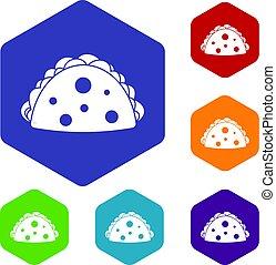 Empanada, cheburek or calzone icons set hexagon isolated ...