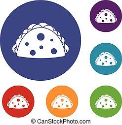 Empanada, cheburek or calzone icons set in flat circle red, ...