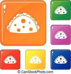Empanada, cheburek or calzone icons set vector color - ...