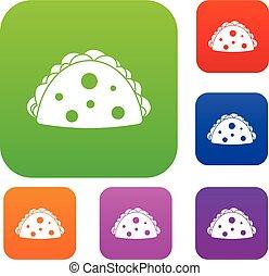 Empanada, cheburek or calzone set color collection - ...