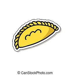 empanada doodle sticker icon, vector illustration