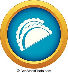 Empanadas de pollo icon blue vector isolated