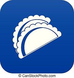 Empanadas de pollo icon digital blue