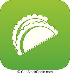Empanadas de pollo icon digital green