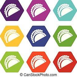 Empanadas de pollo icon set color hexahedron