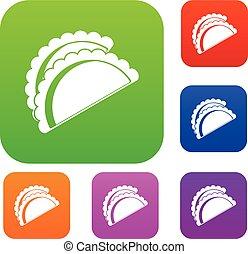 Empanadas de pollo set color collection