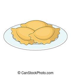 Empanadas, meat pie icon, cartoon style