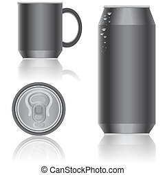 empaquetado, beverages., vector., aluminio