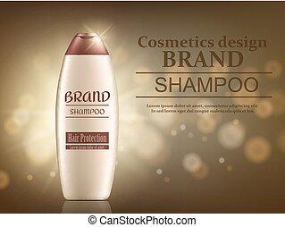 empaquetado, botellas, shampoo., ilustración, pelo, vector,...