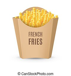 empaquetado, fríe, francés