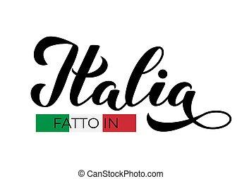 empaquetado, mano, diseño, calidad, marca, hecho, italia, ...
