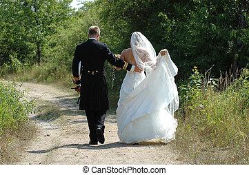 emparéjese andando, boda