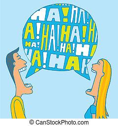 emparéjese compartiendo, un, risa
