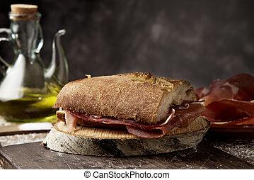 emparedado, jamón, de, serrano, bocadillo, jamon, español