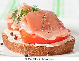 emparedado, salmón, apetitoso