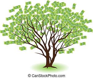 emparelhado, dinheiro, árvores