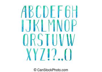 empate, abc, cartas, colorido, alfabeto, mano, acuarela,...