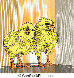 empate, bosquejo, pollo, mano