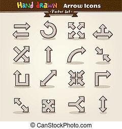 empate, conjunto, mano, vector, icono flecha