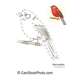 empate, curruca, vector, aprender, pájaro, rojo