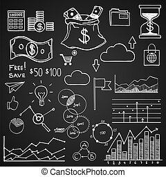 empate, elementos, finanzas, empresa / negocio, garabato, ...
