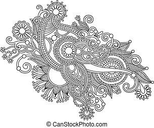 empate, flor, arte, mano, negro, florido, diseño, línea, blanco