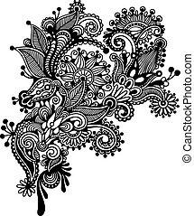 empate, flor, arte, ucranio, estilo, mano, tradicional, negro, florido, línea, blanco, design.