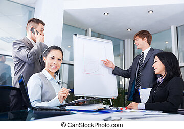 empate, grupo, empresarios, gráfico, equipo