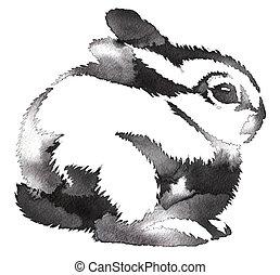 empate, ilustración, agua, negro, conejo, tinta, monocromo, ...