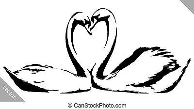 empate, ilustración, pintura, vector, negro, blanco, cisnes,...